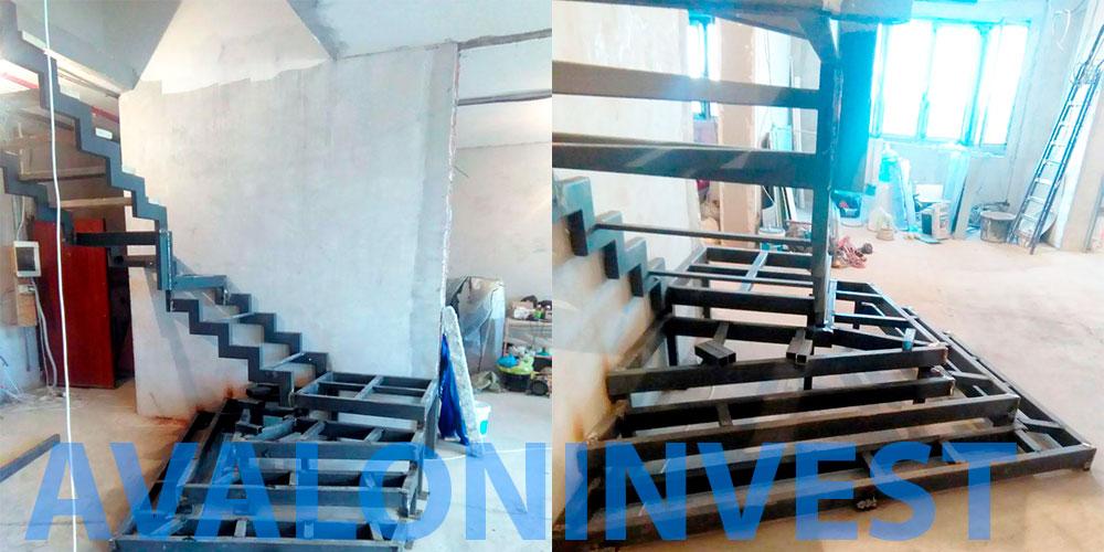 Монтаж каркаса лестницы
